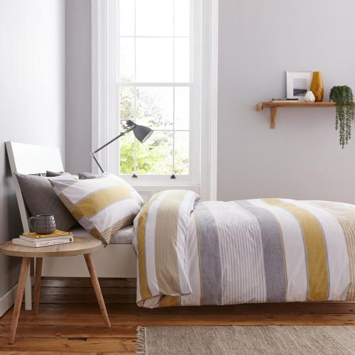 Catherine Lansfield Newquay Stripe Ochre Bedding Set